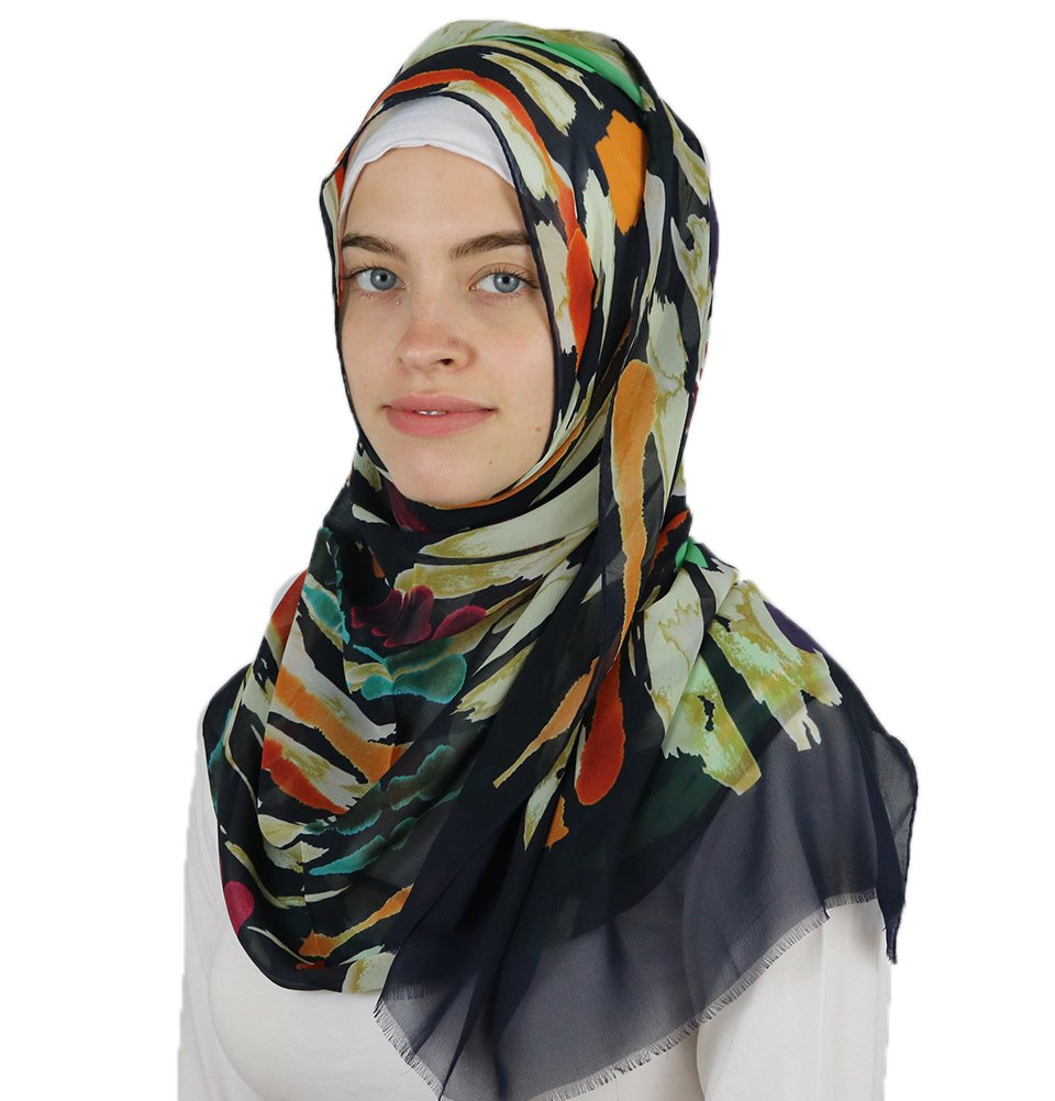 Aker 'Angel' Chiffon Turkish Muslim Women's Shawl Abstract Headscarf Islamic Hijab #7223-921