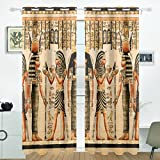 JSTEL Vintage Egypt Art Curtains Drapes Panels Darkening Blackout Grommet Room Divider for Patio Window Sliding Glass Door 55×84 Inches,Set of 2 For Sale