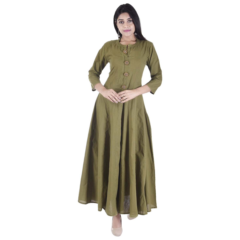 The Black Bee Black Bee Designer Latest Vaachi Cotton Kurti for Women (Green, XX-Large)