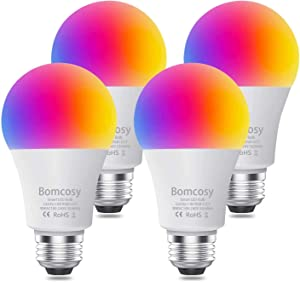 Smart Light Bulbs, 9W 810LM A19 E26 Dimmable 2700K-6500K Multicolor RGB+CCT WiFi Smart Bulbs Compatible with Alexa,Echo,Google Home,Echo and Siri No Hub Required 4 Pack