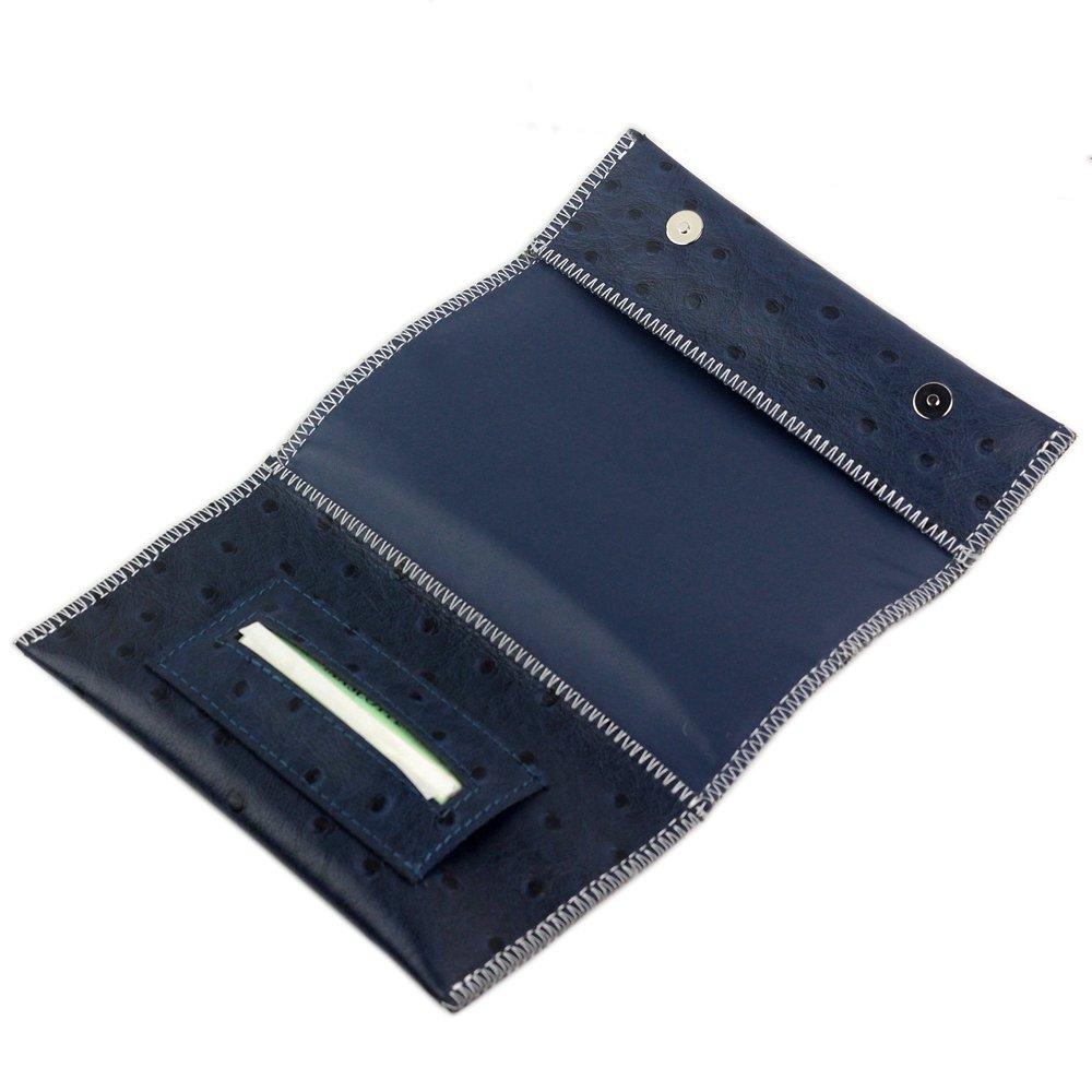 NEW Genuine Leather Hookah Cigarette Tobacco Pouch Case Wallet Rolling Tip Paper Holder Slot CL42 (Blue)