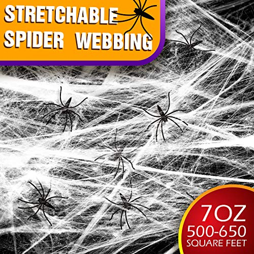 Halloween Stretch Spider Web,7 oz 650 sqft with 100 Fake Spiders,Stretchy Cobweb Props Decoration for Home Indoor Outdoor Trick or Treat Party Supplies/House/Bar/Costume/Window/Fireplace/Yard Décor
