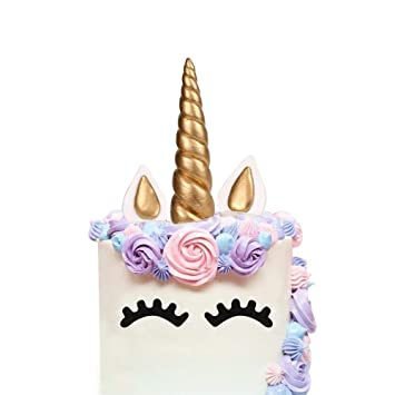 AIEX Unicorn Cake Topper Handmade Gold Birthday Horn Ears And Eyelash