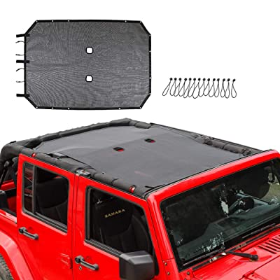 RT-TCZ Sunshade Mesh Shade Top Cover Provides Roof UV Sun Protection for Jeep Wrangler JK Rubicon Sahara Sport Sport-S 4-Door: Automotive