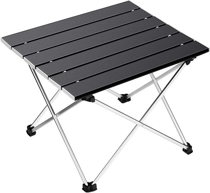 Ledeak Portatiles Plegable Ultraligero Mesa de Camping con Superficie de Aluminio con Bolsa de Transporte, para al Aire Libre, Picnic, Playa, ...