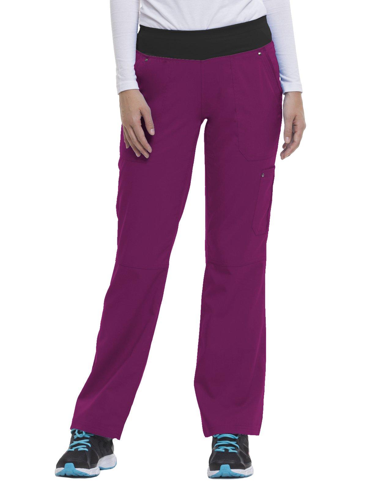 Purple Label by Healing Hands Scrubs Women's Tori 9133 5 Pocket Knit Waist Pant Punch Berry/Black- X-Large Petite