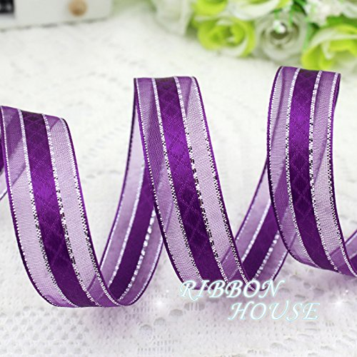 FunnyPicker (10 Yards/Lot) 3/4'' (15Mm) Purple Silver Edge Satin Ribbon Gift Packaging Ribbon Wedding Ribbons