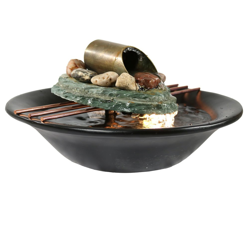 Sunnydaze Soothing Balance Slate Tabletop Water Fountain with LED Light, Indoor Small Relaxation Waterfall Feature, 7 Inch
