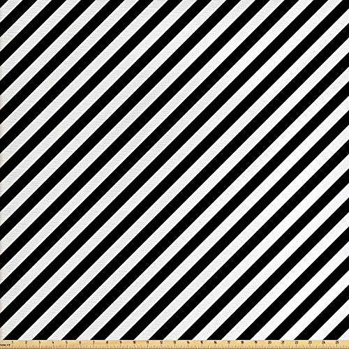 - Lunarable Striped Fabric by The Yard, Diagonal Stripes Monochrome Pattern Abstract Geometric Elements Retro Inspirations, Decorative Fabric for Upholstery and Home Accents, 1 Yard, Black White