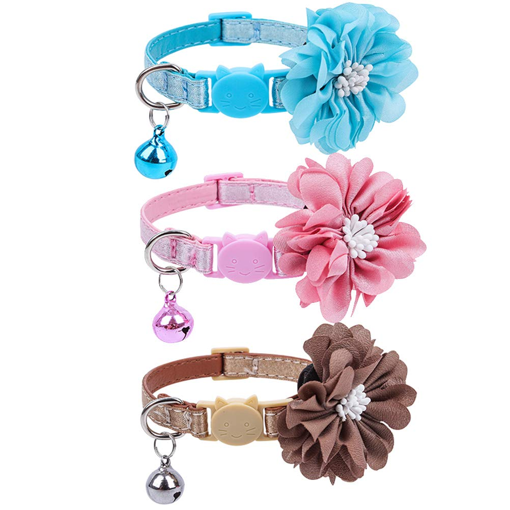 PUPTECK 3 Pack Leather Breakaway Cat Collars with Bell and Removable Flower -Adjustable Saftey Collars Cute and Soft for…