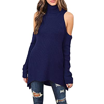 Shele Womens Cut Out Off The Shoulder Sweater Ribbed Turtle Neck Sweaters Tunic Tops at Women's Clothing store