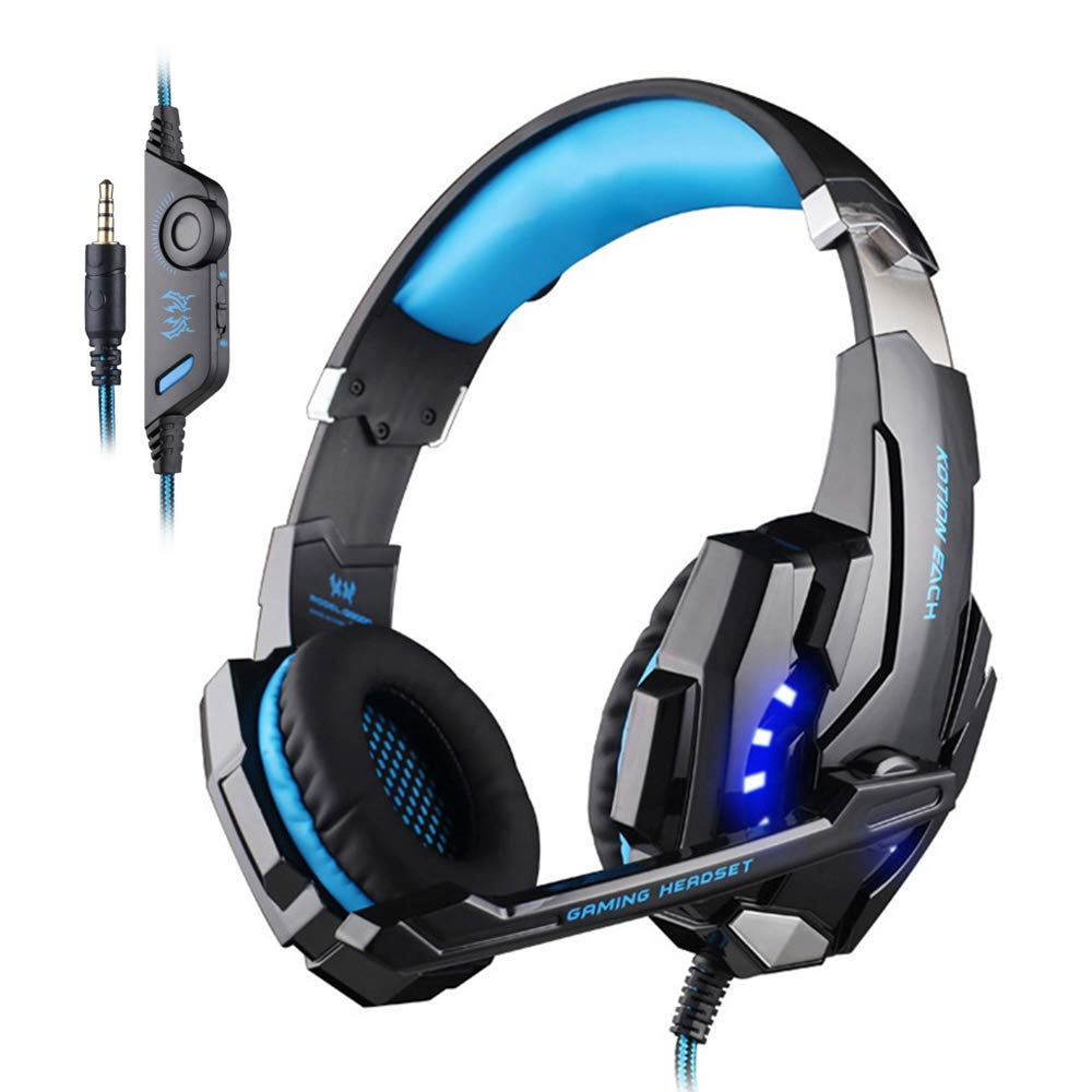 KOTION EACH G9000 Headset 3.5mm Game Gaming Headphone Earphone with Microphone LED Light for Laptop Tablet Mobile Phones PS4 Black Blue