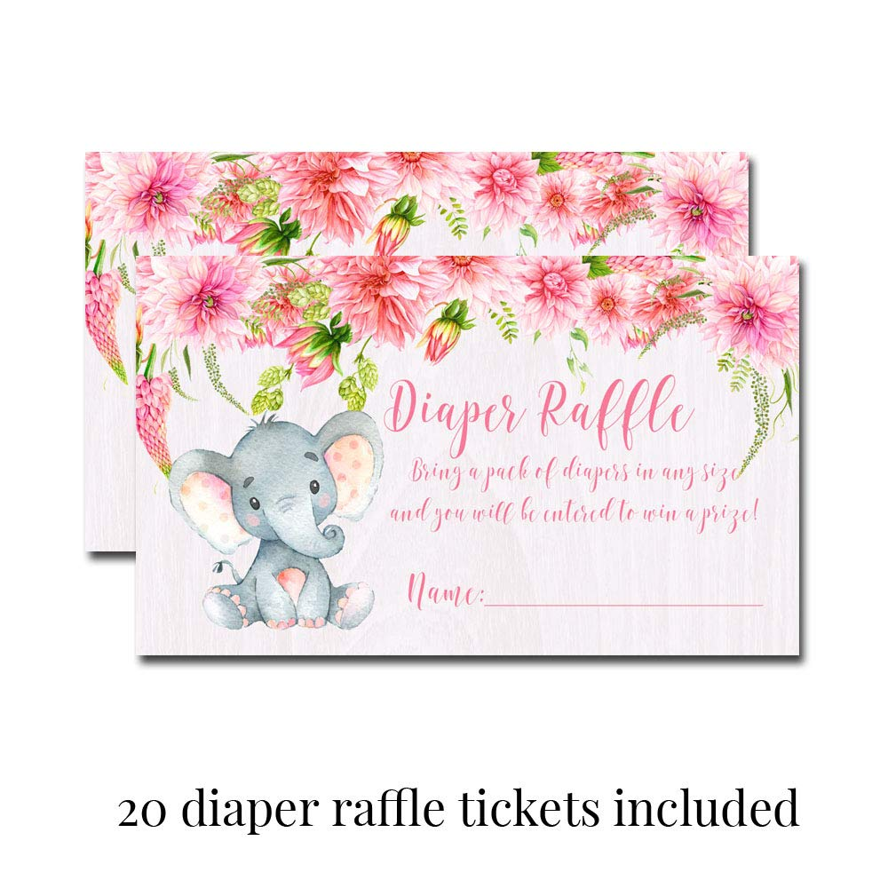 Deluxe Watercolor Floral Elephant Baby Shower Party Bundle for Girls, Includes 20 each of 5''x7'' Fill In Invitations, Diaper Raffle Tickets, Bring a Book Cards, 2'' Thank You Favor Stickers w/ Envelopes by Amanda Creation (Image #4)