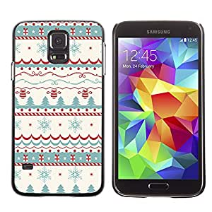 SHIMIN CAO- Dise?o Caso duro de la cubierta Shell protector FOR Samsung Galaxy S5 I9600 G9009 G9008V- Merry Christmas Tree Green Red Deer Snow