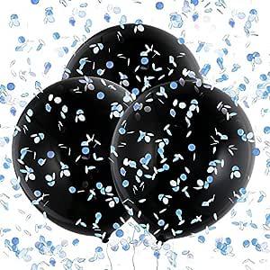 Konsait 3 Piezas 36 Globos de Látex Negro Confetti Globos Gigantes para Fiestas niño or niña Baby Shower Decoracion Cumpleaños género Revela, con ...
