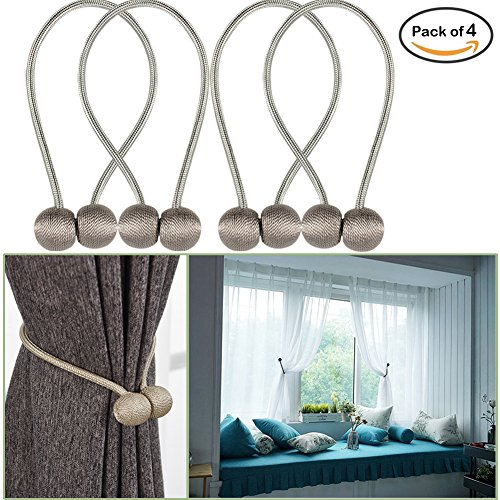 YIDIE 4 Pieces Curtain Tiebacks Classic European Window Holdbacks Home Office Decorative Drapes Holders with Strong Magnetic, Gray/2 Pair (Tie Backs Place Curtain)