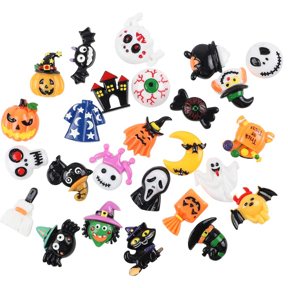 Ornament Scrapbooking DIY Crafts Funarty 100 Pcs Halloween Cute Slime Charms Assorted Resin Flatback Wizard Pumpkin Lantern Ghost Skull Castle Embellishment for Slime Party Craft Making