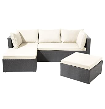 Amazon.de: SSITG POLY RATTAN Garnitur Sitzgruppe Lounge Möbel Sofa ...