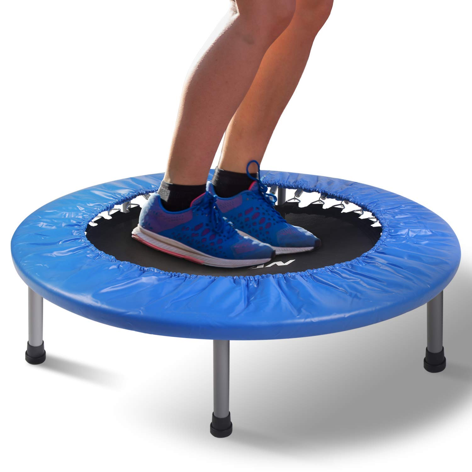 BCAN 38'' Mini Fitness Trampoline, Cardio Trainer with Safety Pad, Quiet & Stable Exercise Rebounder for Kids Adults Indoor/Garden Workout Max 300lbs - Blue