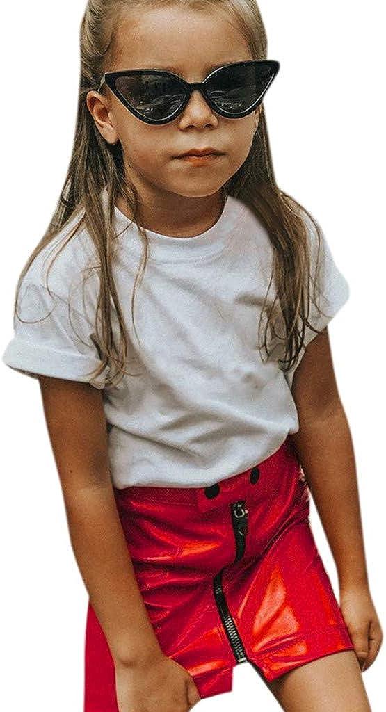 BYSTE/_Abito 2019 Nuovo Estate Infantili Copre della Minigonna della Principessa i Vestiti della Chiusura Lampo Vestiti Infantile Camicia in Vestiti Bambina con Gonna in Tulle Piccolo Vestito