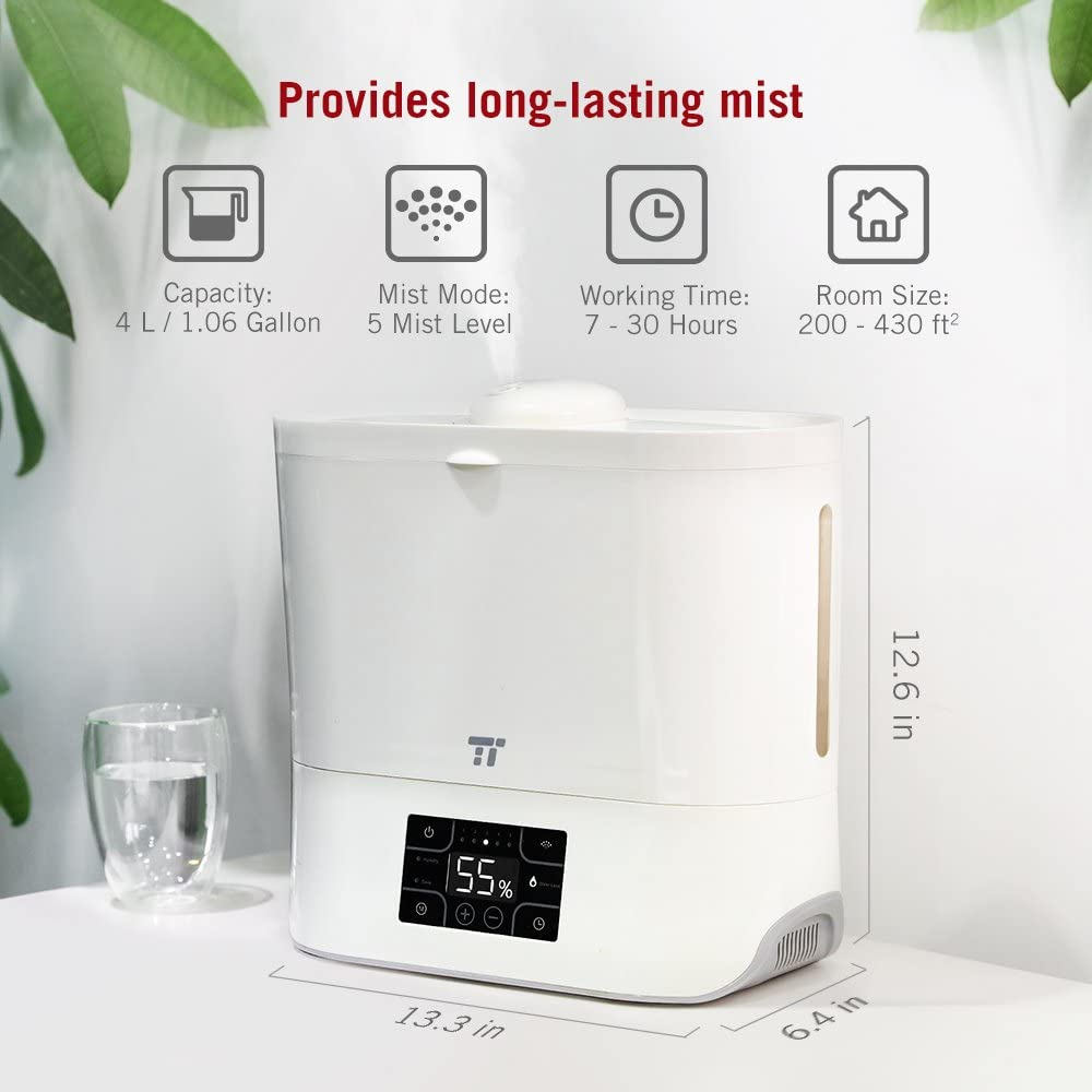 TaoTronics Cool Mist Humidifier, Ultrasonic Humidifiers for Large Bedroom Home Baby, Top Refill Design, Quiet Operation, LED Display with Humidistat, Waterless Auto Shut-off 1.06 Gallon, US 110V