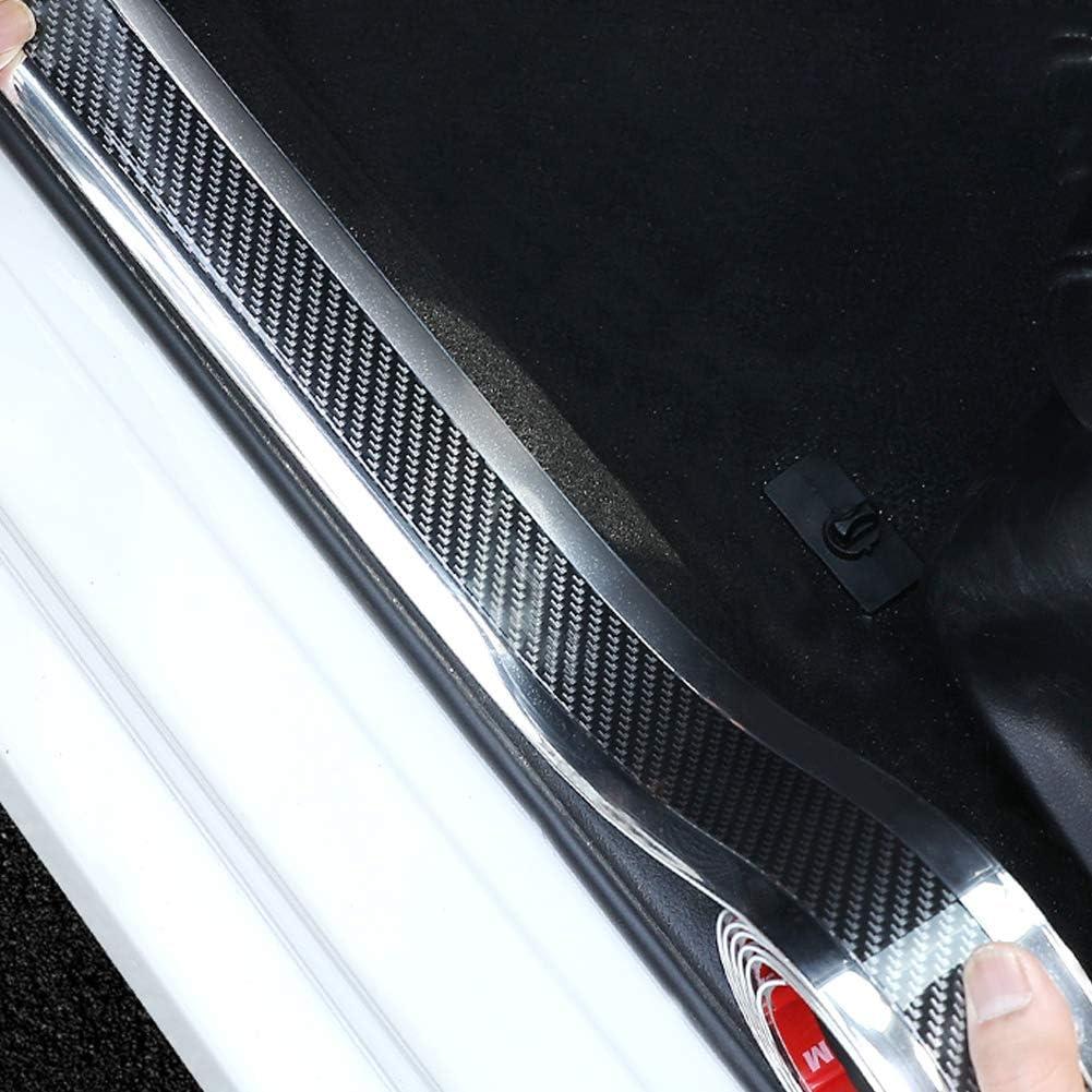 Lot de 2 protections de seuil de porti/ère de voiture en fibre de carbone argent/ée brillante 2,5 m Protection universelle pour pare-chocs de voiture avec adh/ésif puissant