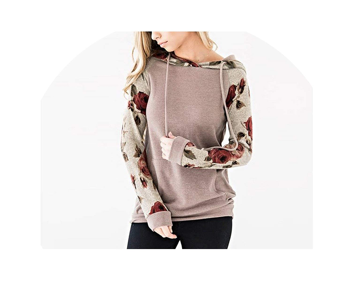 Hoodies Sweatshirt Women Long Sleeve Hooded Drawstring Tops Jumper Autumn Winter Pockets Pullover
