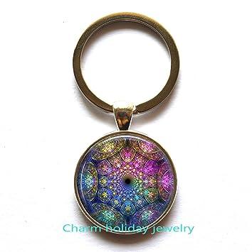 Azul Mandala de curación Llavero joyas para Mandala de ...