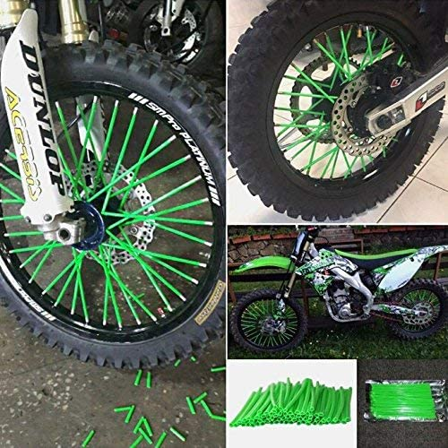 DIXIUZA Universal Protective Wheel Coil Wraps for Motorcycle Off-road SUV Bicycle 72Pcs//Lot Spoke Skin Covers Green