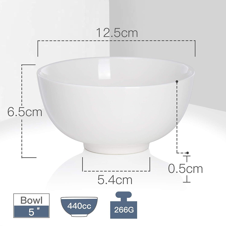 Riso Ivory White Serie: Regular Colore: Bianco Avorio MALACASA Ideale Come Regalo di Natale Ciotola di Porcellana Cinese per zuppe Ceramica Cereali 300ml 8-Piece 4.5 Bowl Set