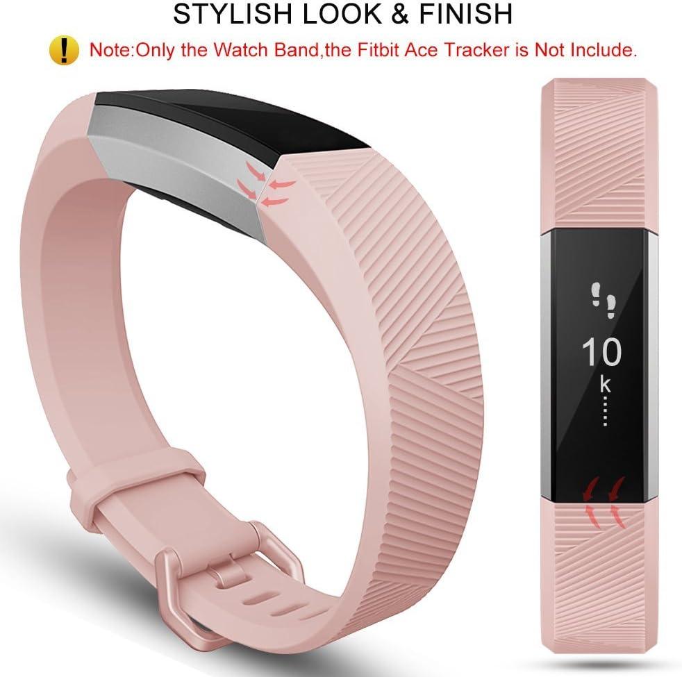 Onedream Compatibile per Fitbit Alta HR Cinturini/Alta Cinturino/Ace Bracciale Braccialetto Sport (nessun Tracker),S/L 03 Nero + Rosa + Teal + Blu