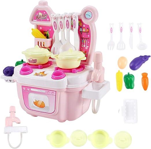 STOBOK 1 Juego de simulación Mini Juego de Cocina Casa de Juegos Cocina de plástico Lindo Juegos de Mesa Juegos de rol Juguetes Accesorios para niños Niños (Rosa): Amazon.es: Hogar