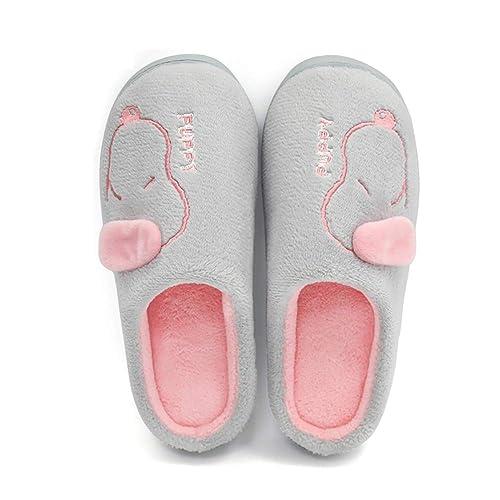 DYTTO Mujer Hombre Zapatillas De Algodón Vellón De Coral Perro De Dibujos Animados Espuma De Memoria Casa Caliente Zapatos Antideslizantes: Amazon.es: ...