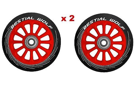 BESTIAL WOLF PILOT-13710-XX2 Pack Dos Ruedas Originales diámetro 100 mm Color núcleo Rojo y Goma Color Negro