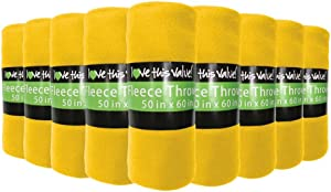 """12 Pack Wholesale Soft Comfy Fleece Blankets - 60"""" x 50"""" Cozy Throw Blankets (Yellow)"""