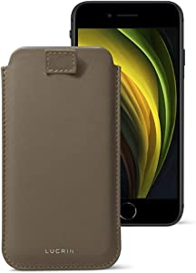 Lucrin - iPhone SE 2020/ iPhone 8/ iPhone 7 Ultra Slim Compatible Sleeve, Protective Soft Case with Pull-Up Strap - Dark Taupe - Genuine Leather