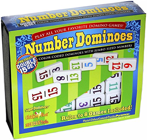Dominoes Professional Numbered, Double 15 Set with Color-Coded Numbers