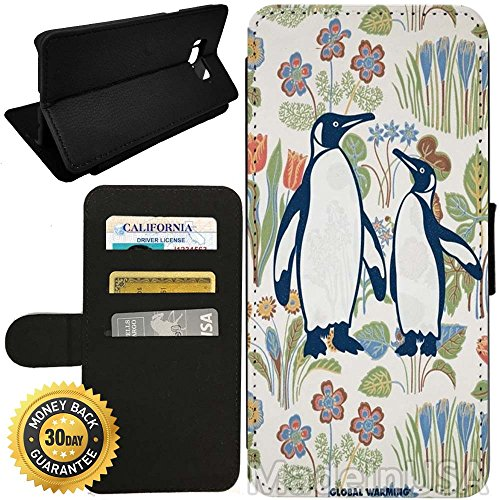 Flip Wallet Case for Galaxy S8 (Penguin Mother And Son) with Adjustable Stand and 3 Card Holders | Shock Protection | Lightweight | by (Mother Penguins)