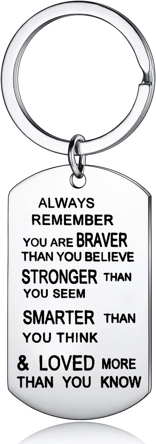 Always Remember You Are Braver Than You Believe Jewelry Keychain Keyring Inspirational Gifts