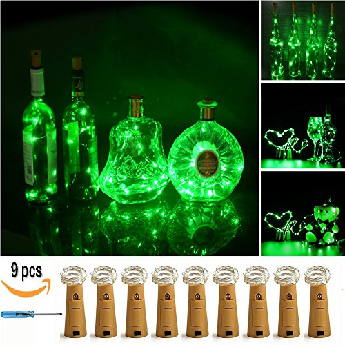 LXS Pack of 9 Cork Shape Wine Bottle Lights,Battery Operated 46cm(18in) 10LED Silver Wire Starry Rope Fairy Lights For Valentine's Day Wedding Party Indoor Outdoor (Fairy Lights Green)
