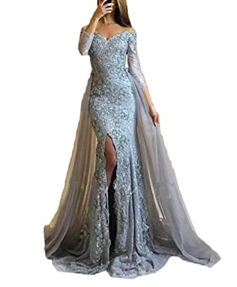 Z Sexy Off Shoulder Slit Long Sleeve Appliques Prom Dresses Mermaid Evening Dresses For