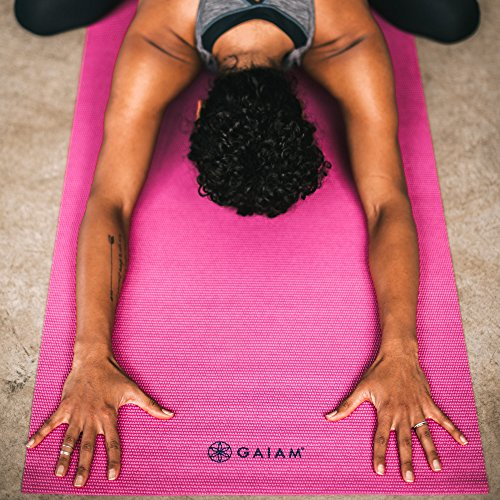 Gaiam Solid Color Yoga Mat, Non Slip Exercise & Fitness Mat for All Types of Yoga, Pilates & Floor Exercises