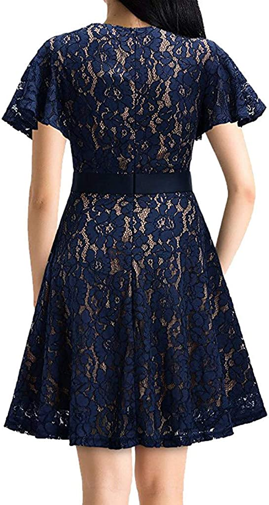 Spring Summer Casual Fashion Formal Lace Flare Sleeve Chiffon Prom Party Bridesmaid Dress UOKNICE Dresses for Women