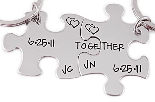 Together Personalized Initial & Date Puzzle Piece Keychain Set of 2 -  Engraved Key Chain - 1077
