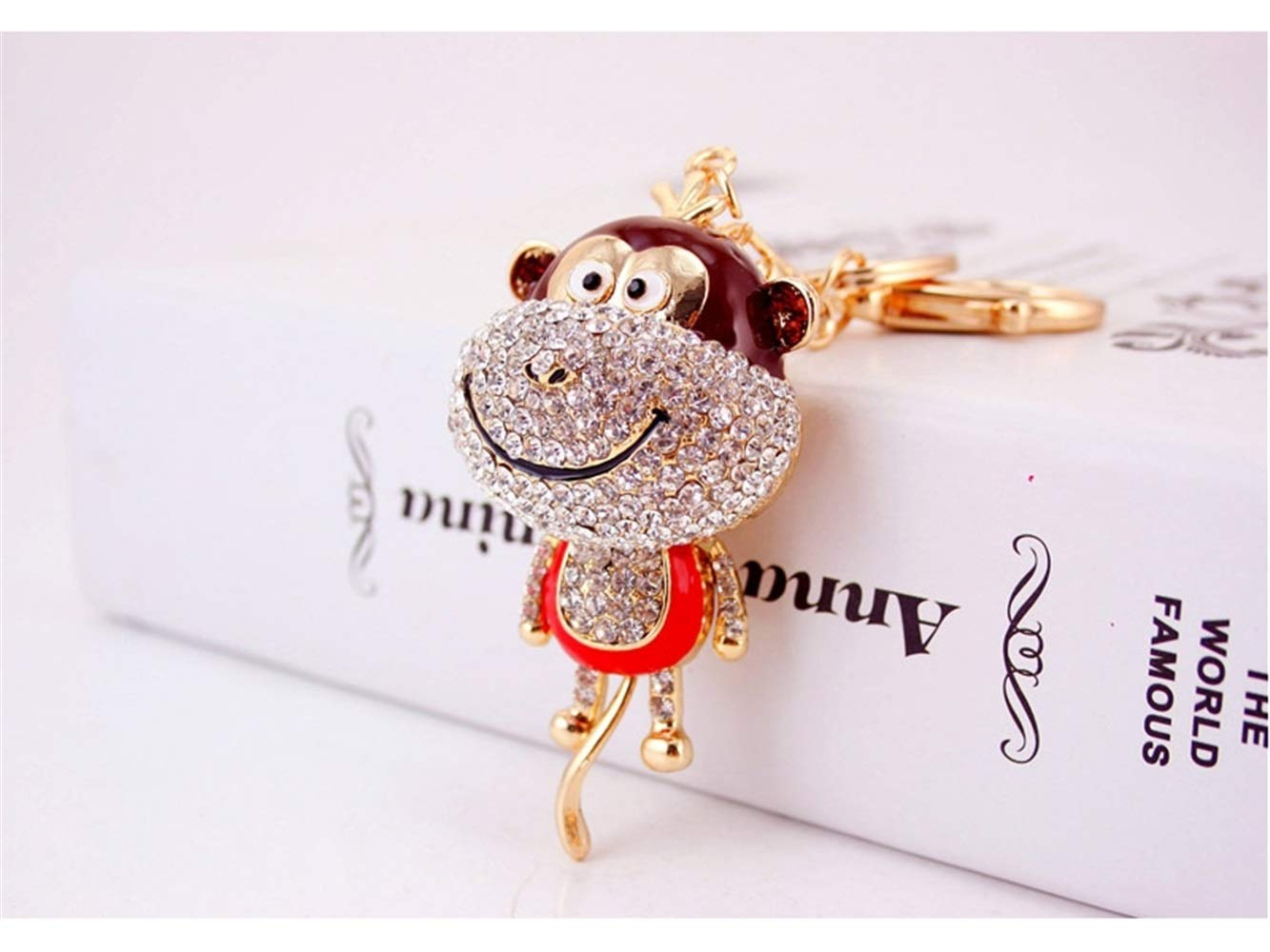 Car Keychain, Cute Diamond Long Tail Monkey Keychain Animal Shape Key Trinket Car Bag Key Holder Decorations(Red) for Gift