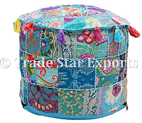 Terrific Amazon Com Indian Patchwork Pouf Cover Round Ottoman Beatyapartments Chair Design Images Beatyapartmentscom