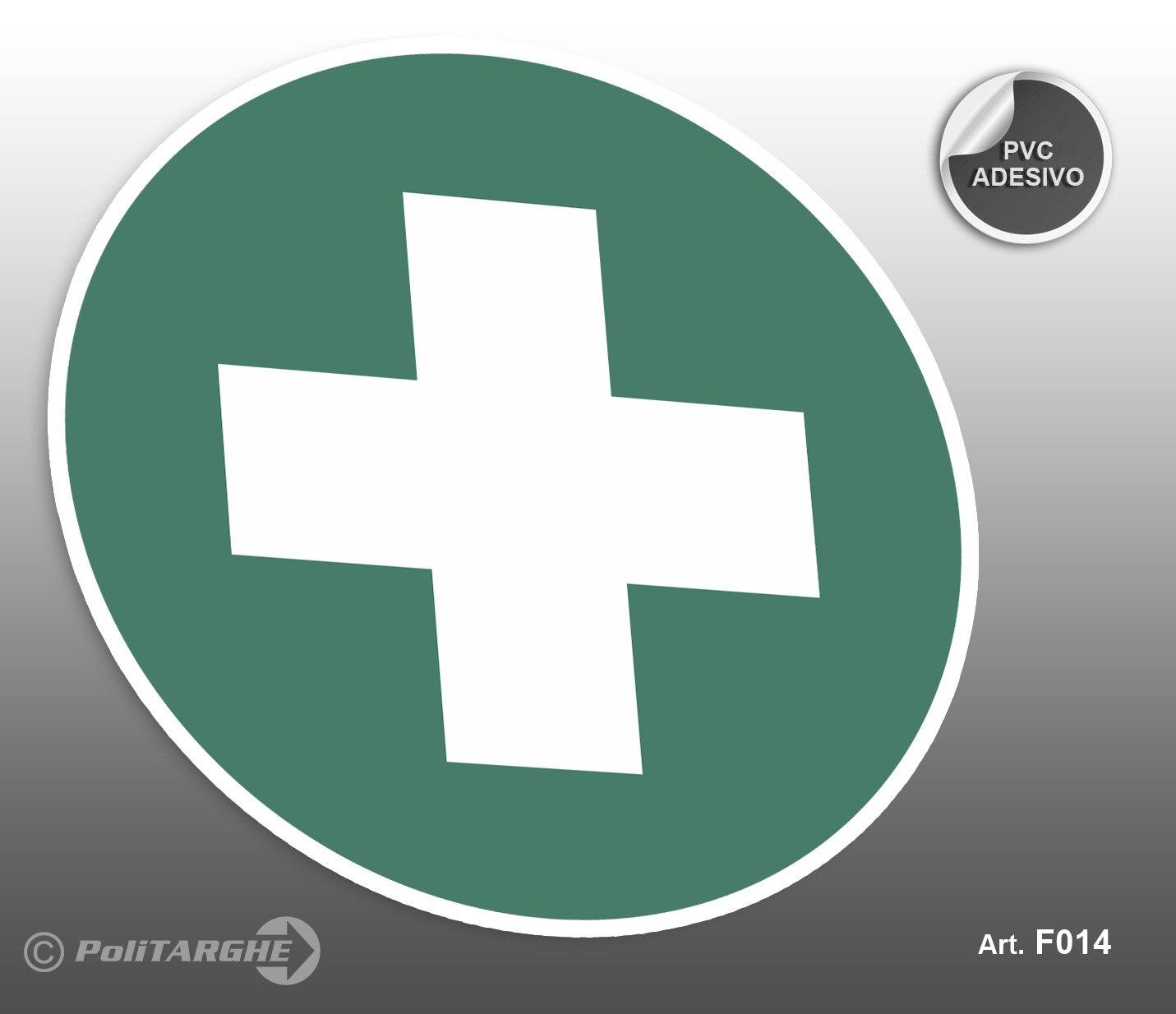 Cartel adhesivo de PVC Diámetro cm 12,5 Infermeria Primeros ...