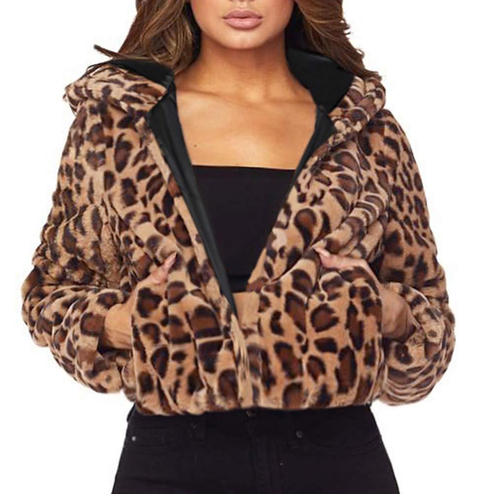 Connia Hot Women Fashion Leopard-Print Faux Fur Short Plush Hoodie Jacket Winter Full Sleeve Cardigan Outwear Coat