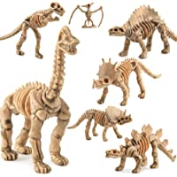 FnieYxiu 12Pcs Simulation Plastic Dinosaurs Model Fossil Skeleton Kids Toy Decor Gift