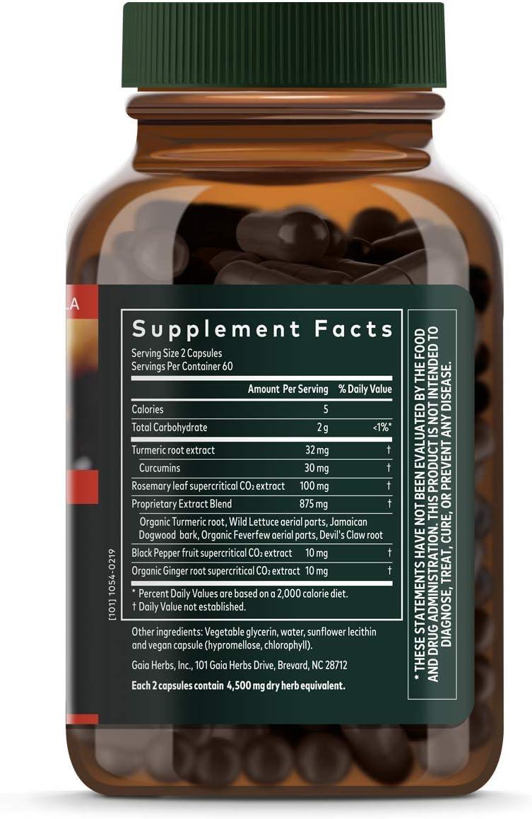 Gaia Herbs, Turmeric Supreme Pain, Herbal Pain Supplement with Curcumins, Vegan Liquid Capsules, 120 Count: Health & Personal Care
